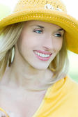 Portrait of beautiful woman in a hat — Foto de Stock
