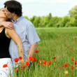 Loving couple sharing a pasionate kiss - Stock Photo