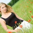 Sexy woman on poppy field - Photo