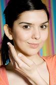 Resh beautiful young adult woman applying moistu — Stock Photo
