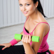 Woman during fitness exercise — Stock Photo