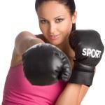 Boxing woman — Stock Photo