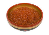 Red caviar in Russian national bowl — Stock Photo