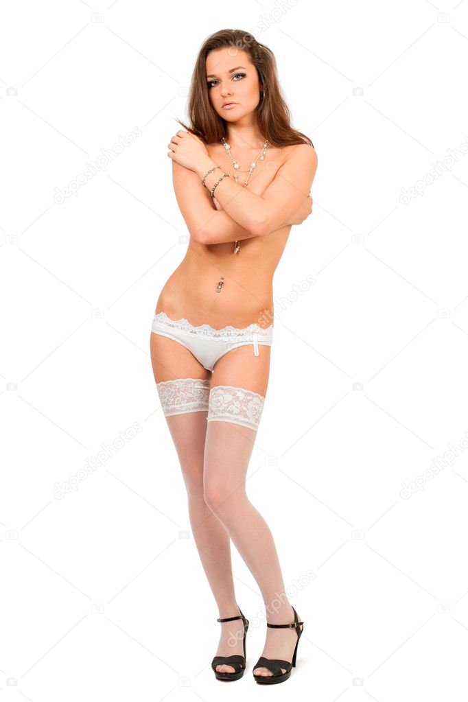 Pretty young woman in white lingerie,  isolated on white — Stock Photo #3346162