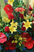 Red and yellow floral arrangement — Stock Photo