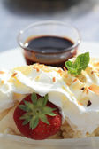 Vanilla Ice Cream with Hot Chocolate Sauce — Stockfoto