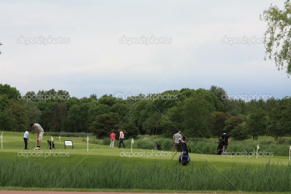 A group of golfers practising on the chipping green — Stock Photo #3309167