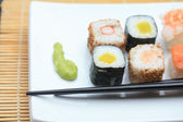 Different sorts of sushi — Stock fotografie