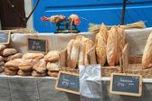 Fresh bread on french market — Stock Photo