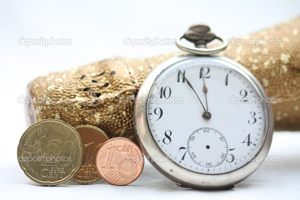 A champagne bottle, a vintage pocket watch and three euro coins making 2011. Perfect New Years greeting card — Stock Photo #3868200
