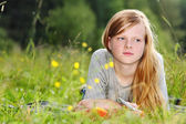 Teenage girl on meadow — Stockfoto