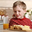 Kid with juice — Stock Photo