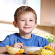 Tasty breakfast of little boy — Stock Photo