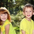 Happy children in forest — Foto de Stock