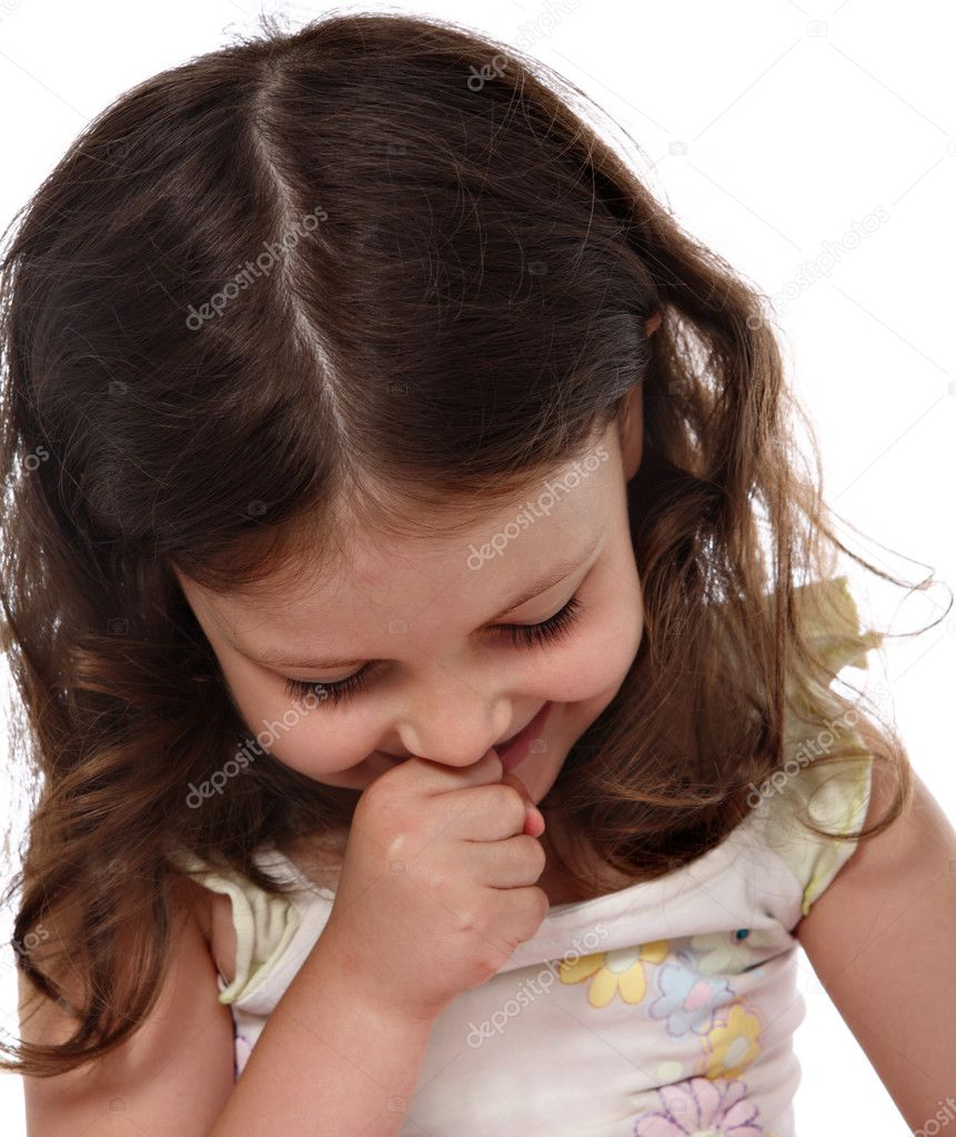 Shy little girl look down — Stock Photo #3545159