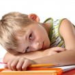 Tired little schoolboy — Stock Photo #3578849