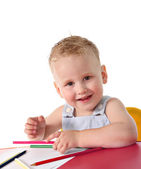 Baby boy drawing — Stock Photo
