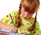 Funny little schoolgirl — Stock Photo