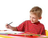 Creative boy with pencils — Stock Photo