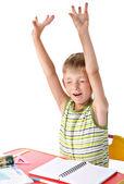 Yawning schoolboy — Stock Photo