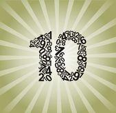 Number ten — Stock Vector