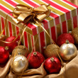 Stock Photo: Christmas gift and ornament balls