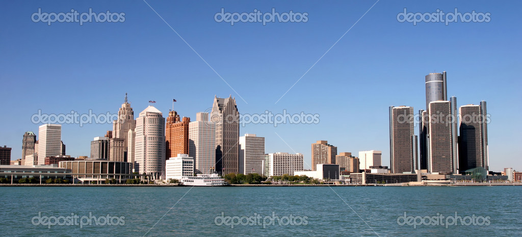 View of panorama Detroit skyline from Windsor — Stock Photo #2845377