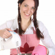 Housewife preparing with kitchen mixer — Stock Photo