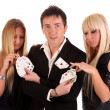 Magician make performance cards — Stock Photo