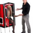 Magician performance with beauty girls in a magic box — Stockfoto