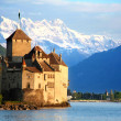 The Chillon castle in Montreux, Switzerland - Stock Photo