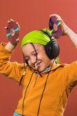 Ativo, atividade, beleza, linda, de áudio cd, alegre, criança, — Fotografia Stock