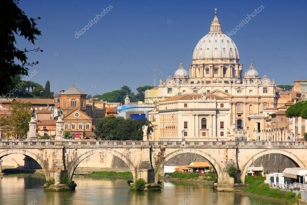 View of panorama Vatican City from Ponte Umberto I in Rome, Italy  Stock Photo #3872084