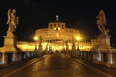 View of Castel Sant' Angelo night in Rome, Italy — Stock Photo