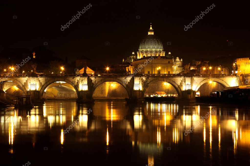 View of panorama night Vatican City in Rome, Italy — Stock Photo #3881157