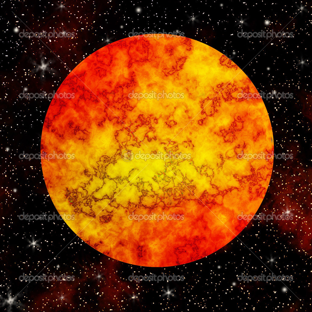 Fire planet in the cosmos  Stock Photo #3111339