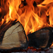 The wood burns on fire - Stock Photo