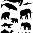 Wild animals. Silhouette vector collection - Stock Vector