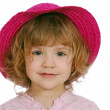 Little girl with red straw hat — Stock Photo #2814193