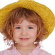 Little girl with yellow straw hat — Stock Photo #2814229