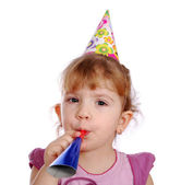 Little girl with trumpet birthday party — Stock Photo