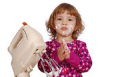 Little girl with cream — Stock Photo