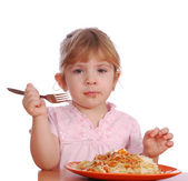 Little girl with spaghetti — Stock Photo