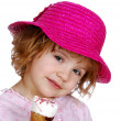 Little girl with red hat and ice cream — Stock Photo