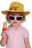 Little girl with hat and ice cream — Stock Photo