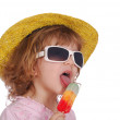 Little girl with colorful ice cream — Stock Photo