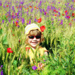 Stock Photo: Happy little girl on meadow