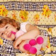 Stock Photo: Happy little girl bedtime