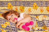 Happy little girl bedtime — Stock Photo