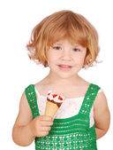 Happy little girl with ice cream — Stok fotoğraf